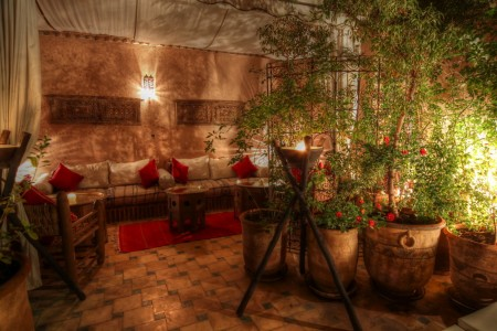 Moroccan tent at terrace garden in Riad Jona Marrakech