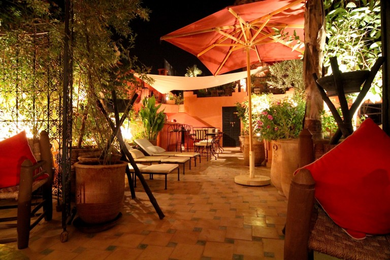 Riad Jona roof terrace by night riad marrakech
