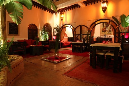 Patio with cozy ambiance in Marrakech medina at Riad Jona Morocco
